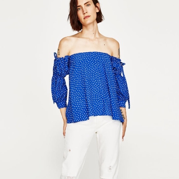 21a23479174 ZARA blue polka dot off the shoulder top. M_5b294f7dc6177750e9ca5ee1